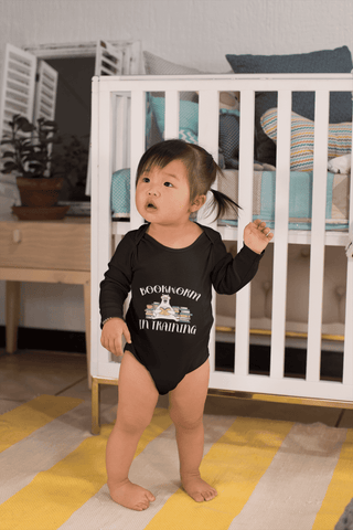 """Bookworm In Training""Long Sleeve Baby Bodysuit - Gifts For Reading Addicts"