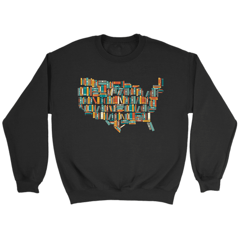 """USA Bookish Map"" Sweatshirt - Gifts For Reading Addicts"