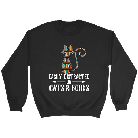 """Cats and books"" Sweatshirt - Gifts For Reading Addicts"