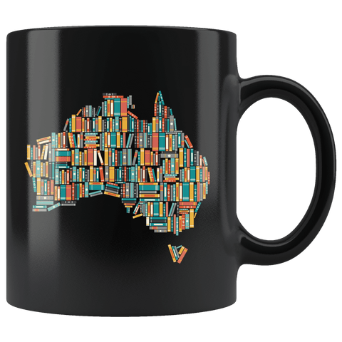 """Australia Bookish Map""11oz Black Mug"
