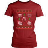 Christmas Bookish Ugly design Fitted T-shirt - Gifts For Reading Addicts