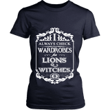 I always check Wardrobes for lions and witches, Fitted T-shirt-For Reading Addicts