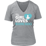 This girls loves reading - V-neck-For Reading Addicts