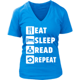 Eat, Sleep, Read, Repeat V-neck - Gifts For Reading Addicts