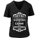 I always check Wardrobes for lions and witches, V-neck - Gifts For Reading Addicts