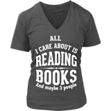 All i care about is reading books V-neck-For Reading Addicts