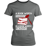 A book worth banning is a book worth reading Fitted T-shirt - Gifts For Reading Addicts