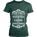 I always check Wardrobes for lions and witches, Fitted T-shirt - Gifts For Reading Addicts