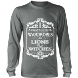 I always check Wardrobes for lions and witches, Long Sleeves - Gifts For Reading Addicts