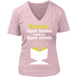 Warning! Open books lead to open minds V-neck - Gifts For Reading Addicts