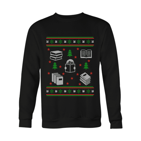 Christmas Bookish Ugly design Sweatshirt-For Reading Addicts