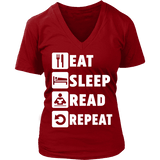 Eat, Sleep, Read, Repeat V-neck-For Reading Addicts