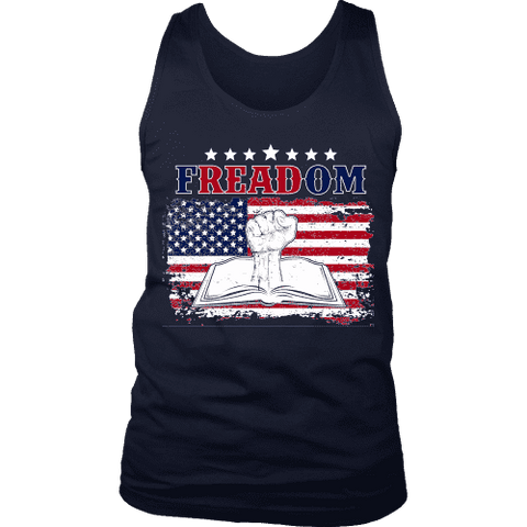 Freadom Mens Tank-For Reading Addicts