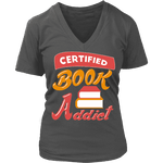 Certified book addict V-neck - Gifts For Reading Addicts
