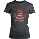 I Am A Book Dragon Fitted T-shirt-For Reading Addicts
