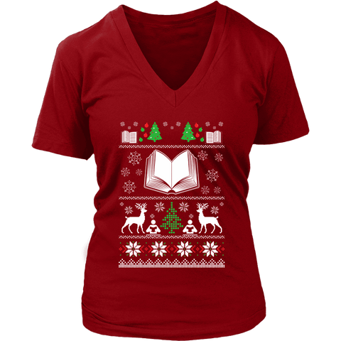Christmas Ugly V-neck tee - Gifts For Reading Addicts