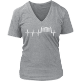 Book heart pulse V-neck-For Reading Addicts