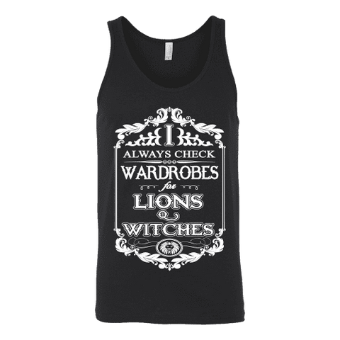 I always check Wardrobes for lions and witches, Unisex Tank Top - Gifts For Reading Addicts