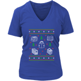 Christmas Bookish Ugly design V-neck tee-For Reading Addicts