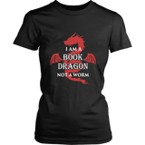 I Am A Book Dragon Fitted T-shirt - Gifts For Reading Addicts