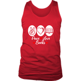 Peace, Love, Books Mens Tank Top-For Reading Addicts