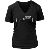 Book heart pulse V-neck - Gifts For Reading Addicts