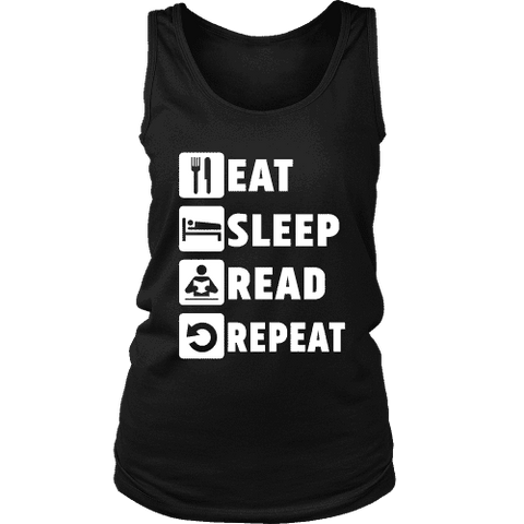 Eat, Sleep, Read, Repeat Womens Tank-For Reading Addicts