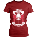 I read so i dont choke people Fitted T-shirt - Gifts For Reading Addicts