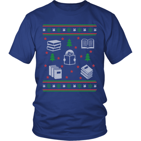 Christmas Bookish Ugly design Unisex T-shirt-For Reading Addicts