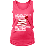 A book worth banning is a book worth reading Womens Tank-For Reading Addicts