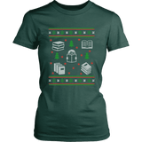 Christmas Bookish Ugly design Fitted T-shirt-For Reading Addicts
