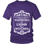 I always check Wardrobes for lions and witches, Unisex T-shirt-For Reading Addicts