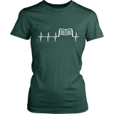 Book heart pulse Fitted T-shirt-For Reading Addicts
