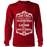 I always check Wardrobes for lions and witches, Long Sleeves-For Reading Addicts