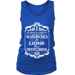 I always check Wardrobes for lions and witches, Womens Tank Top - Gifts For Reading Addicts