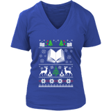 Christmas Ugly V-neck tee-For Reading Addicts
