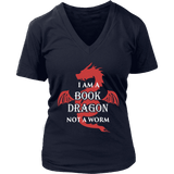 I Am A Book Dragon V-neck T-shirt - Gifts For Reading Addicts