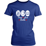 Peace, Love, Books Fitted T-shirt - Gifts For Reading Addicts