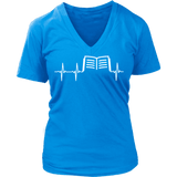 Book heart beat - V-neck-For Reading Addicts