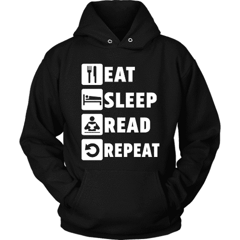 Eat, Sleep, Read, Repeat Hoodie - Gifts For Reading Addicts
