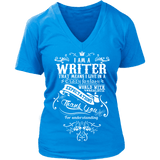 I am a writer - V-neck - Gifts For Reading Addicts