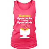 Warning! Open books lead to open minds Womens Tank-For Reading Addicts
