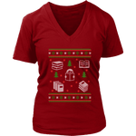 Christmas Bookish Ugly design V-neck tee - Gifts For Reading Addicts
