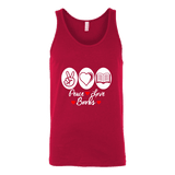 Peace, Love, Books Unisex Tank Top-For Reading Addicts