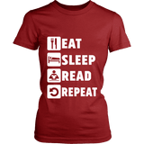 Eat, Sleep, Read, Repeat Fitted T-shirt-For Reading Addicts