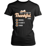 This Year I'm Thanful for Books, Family & Food Fitted T-shirt-For Reading Addicts