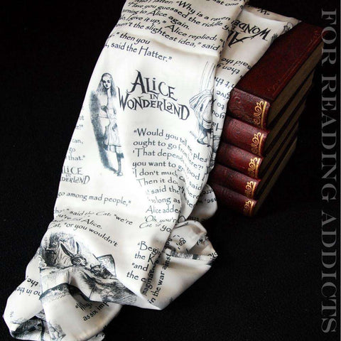 Alice in Wonderland Book Quotes Handmade Infinity Scarf Limited Edition-For Reading Addicts