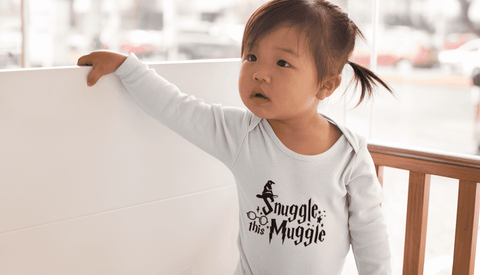 """Snuggle This Muggle""Long Sleeve Baby Bodysuit - Gifts For Reading Addicts"
