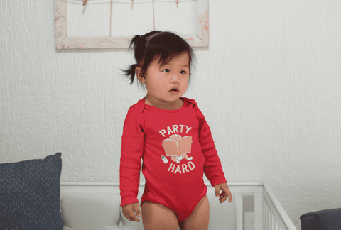 """Party Hard""Long Sleeve Baby Bodysuit"