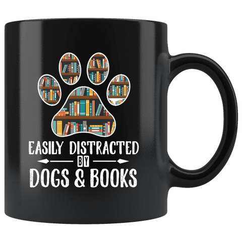"""Dogs and books""11oz black mug"